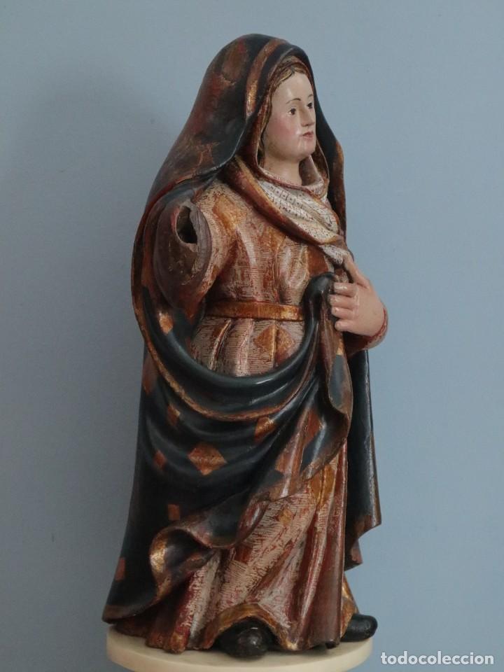 Arte: Imagen de la Virgen María. Escuela Castellana del siglo XVI. Mide 56 cm. - Foto 13 - 234986865