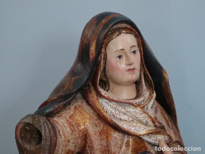 Arte: Imagen de la Virgen María. Escuela Castellana del siglo XVI. Mide 56 cm. - Foto 14 - 234986865