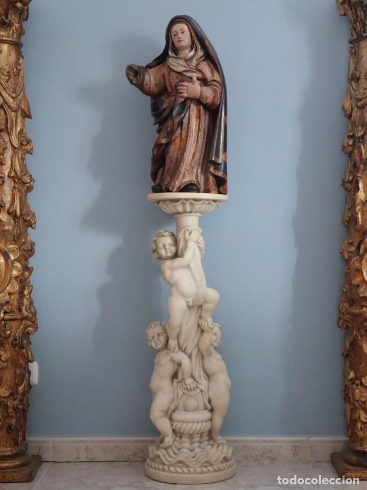 Arte: Imagen de la Virgen María. Escuela Castellana del siglo XVI. Mide 56 cm. - Foto 20 - 234986865