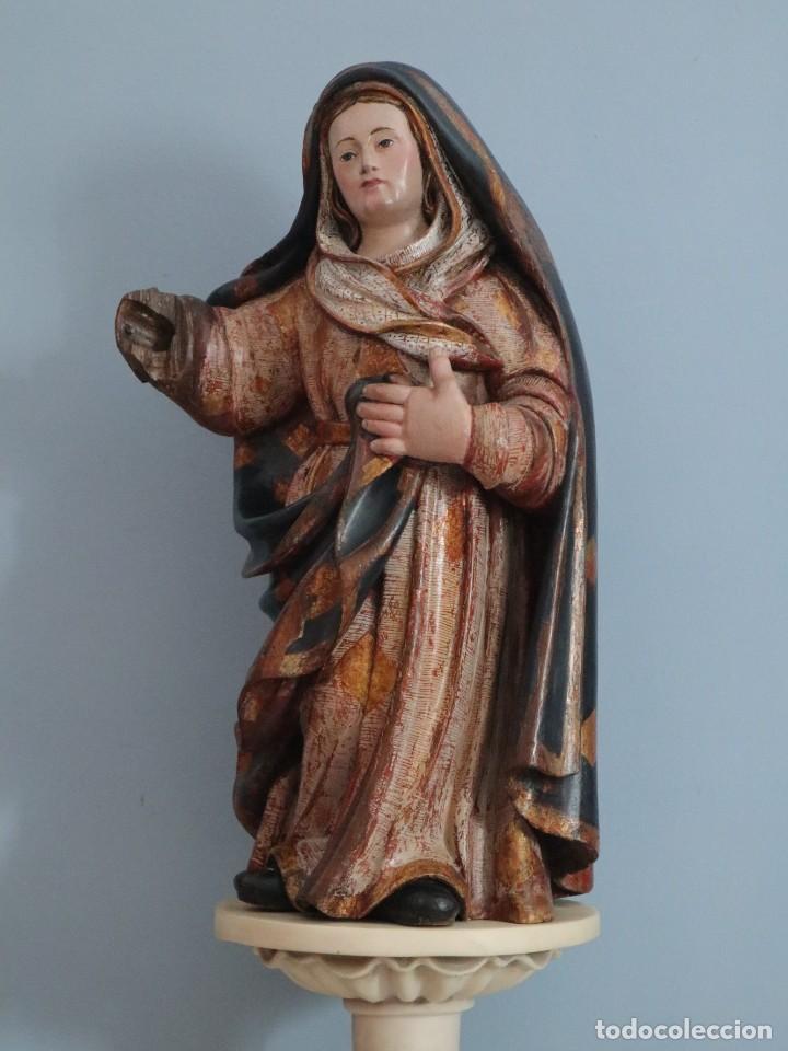 Arte: Imagen de la Virgen María. Escuela Castellana del siglo XVI. Mide 56 cm. - Foto 21 - 234986865