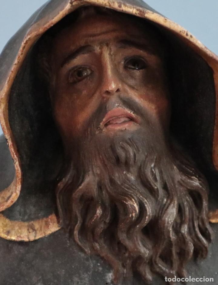 Arte: San Francisco de Paula. Escultura en madera tallada y policromada. Mide 82 cm. S. XVIII. - Foto 5 - 234766870