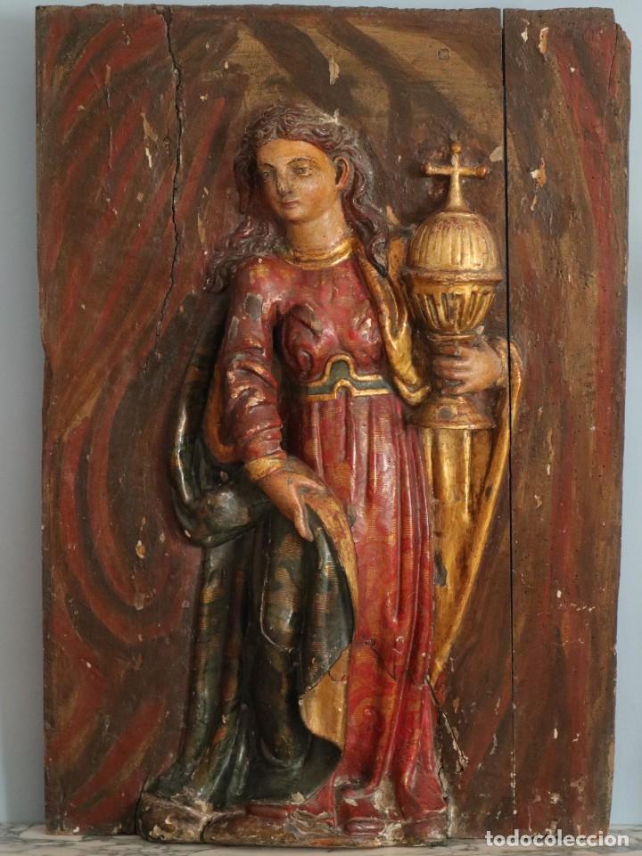 Arte: Santa Clara. Relieve de madera policromada. Retablo del siglo XVII. Mide 81 x 67 cm. - Foto 2 - 235186290