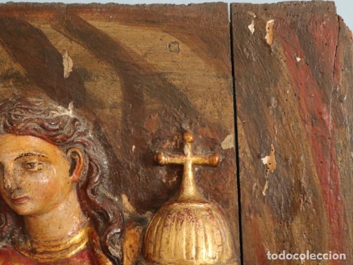 Arte: Santa Clara. Relieve de madera policromada. Retablo del siglo XVII. Mide 81 x 67 cm. - Foto 8 - 235186290