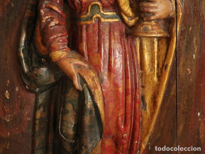 Arte: Santa Clara. Relieve de madera policromada. Retablo del siglo XVII. Mide 81 x 67 cm. - Foto 17 - 235186290