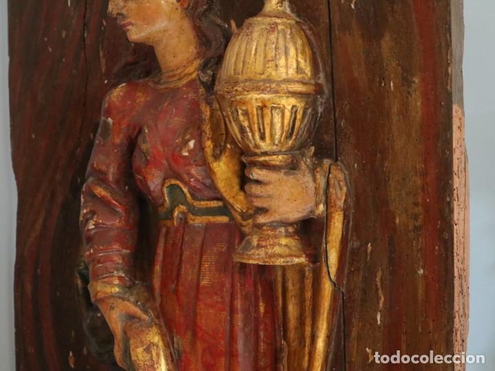 Arte: Santa Clara. Relieve de madera policromada. Retablo del siglo XVII. Mide 81 x 67 cm. - Foto 22 - 235186290