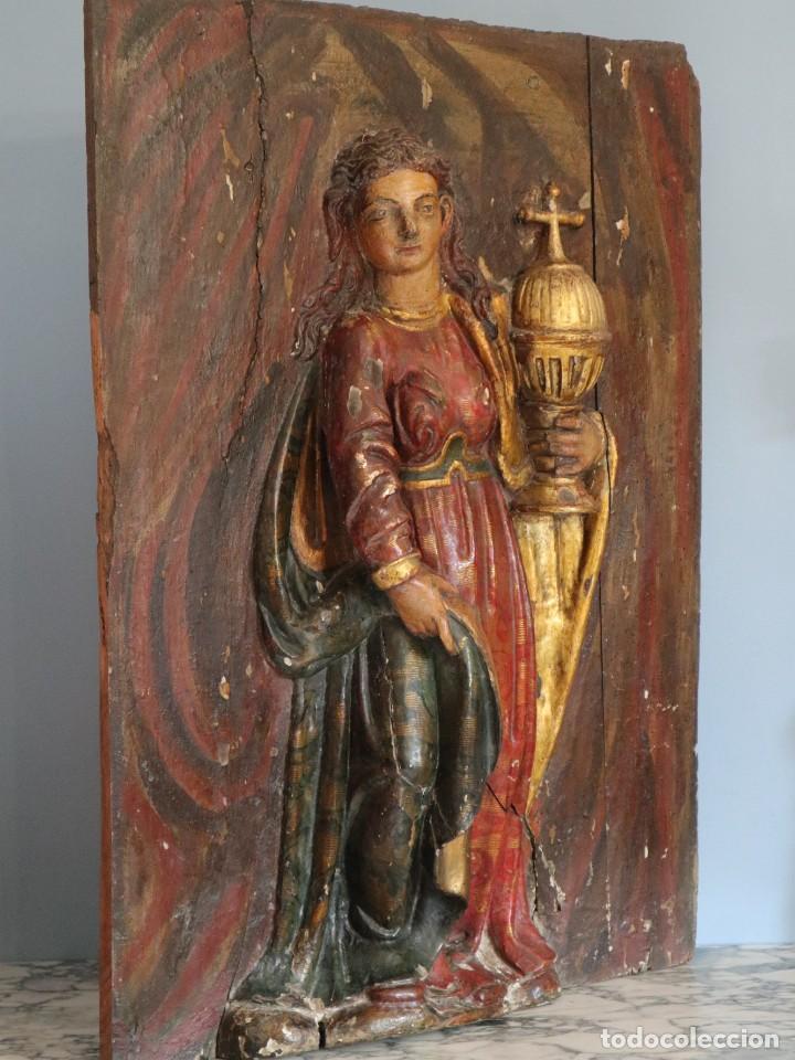 Arte: Santa Clara. Relieve de madera policromada. Retablo del siglo XVII. Mide 81 x 67 cm. - Foto 23 - 235186290