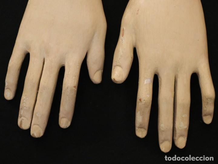 Arte: Brazos y manos de tamaño natural para imagen vestidera o cap i pota. Siglo XVIII. - Foto 5 - 235361650