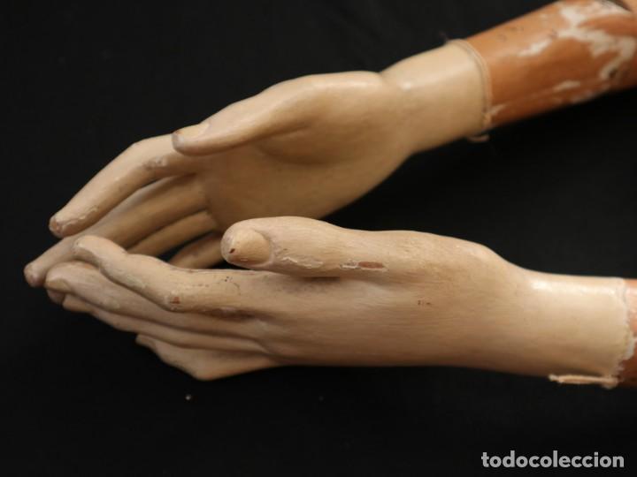 Arte: Brazos y manos de tamaño natural para imagen vestidera o cap i pota. Siglo XVIII. - Foto 22 - 235361650