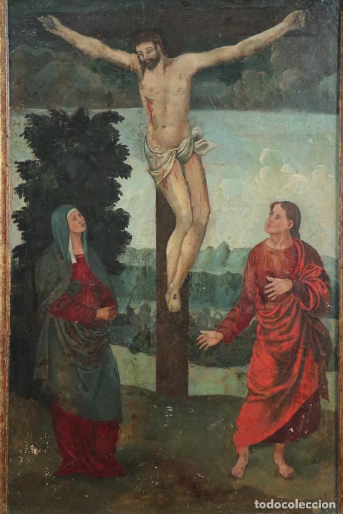 Arte: Calvario. Oleo sobre tabla. Escuela Española. Siglos XVI-XVII. - Foto 2 - 117955635