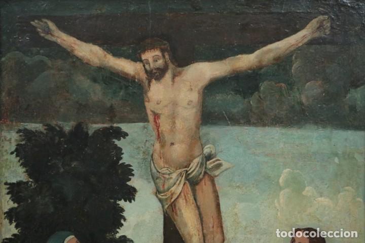 Arte: Calvario. Oleo sobre tabla. Escuela Española. Siglos XVI-XVII. - Foto 3 - 117955635