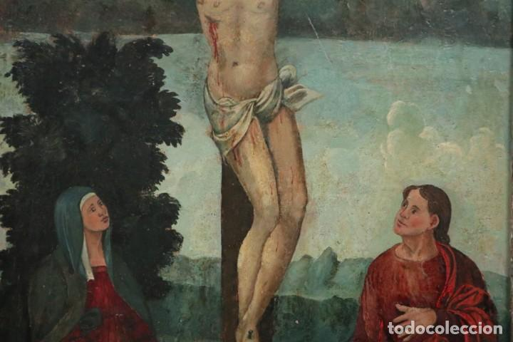 Arte: Calvario. Oleo sobre tabla. Escuela Española. Siglos XVI-XVII. - Foto 4 - 117955635