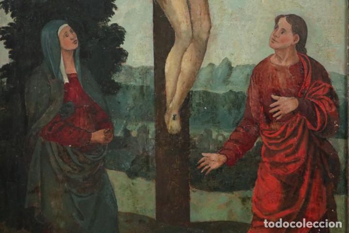 Arte: Calvario. Oleo sobre tabla. Escuela Española. Siglos XVI-XVII. - Foto 5 - 117955635