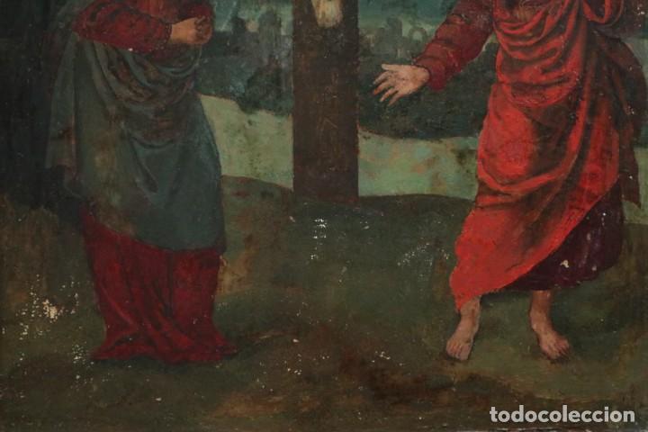 Arte: Calvario. Oleo sobre tabla. Escuela Española. Siglos XVI-XVII. - Foto 6 - 117955635