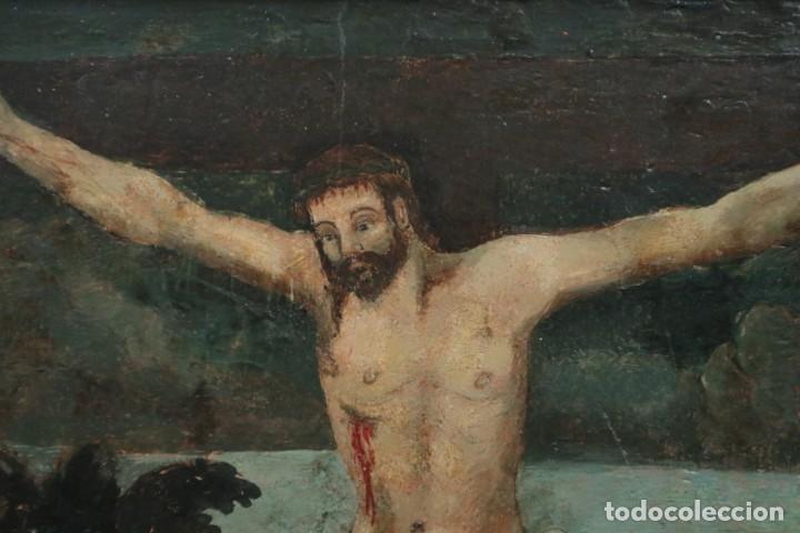 Arte: Calvario. Oleo sobre tabla. Escuela Española. Siglos XVI-XVII. - Foto 11 - 117955635