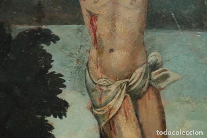 Arte: Calvario. Oleo sobre tabla. Escuela Española. Siglos XVI-XVII. - Foto 12 - 117955635