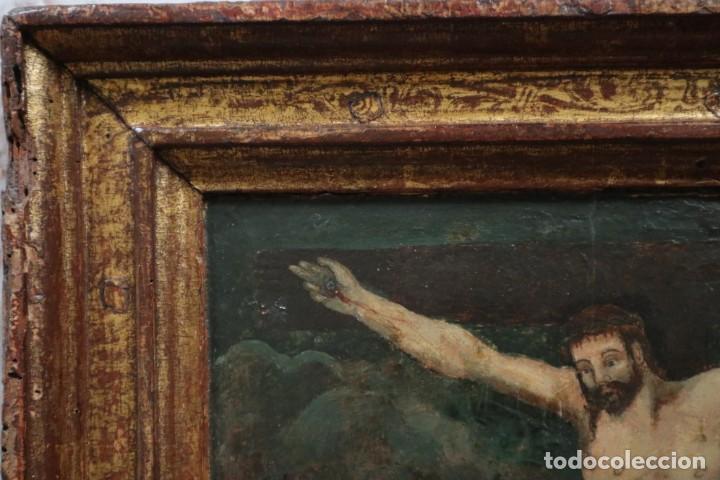 Arte: Calvario. Oleo sobre tabla. Escuela Española. Siglos XVI-XVII. - Foto 16 - 117955635