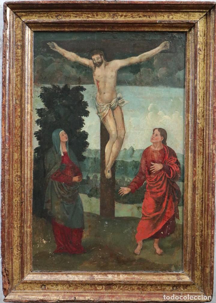 CALVARIO. OLEO SOBRE TABLA. ESCUELA ESPAÑOLA. SIGLOS XVI-XVII. (Arte - Arte Religioso - Pintura Religiosa - Oleo)