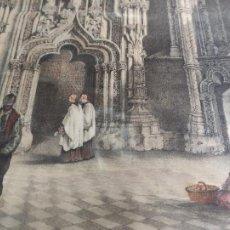 Arte: LITOGRAFIA VILLA - MIL -SEPULCRO EN EL MONASTERIO DEL PARRAL DE SEGOVIA - 55X39. Lote 235693510