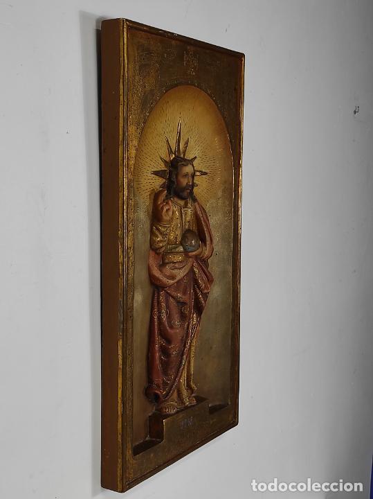 Arte: Antiguo Retablo - Sagrado Corazón - Talla de Madera Policromada y Dorada - Año 1743 - Foto 2 - 235694800