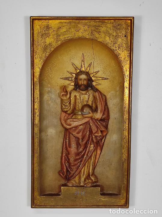 Arte: Antiguo Retablo - Sagrado Corazón - Talla de Madera Policromada y Dorada - Año 1743 - Foto 4 - 235694800