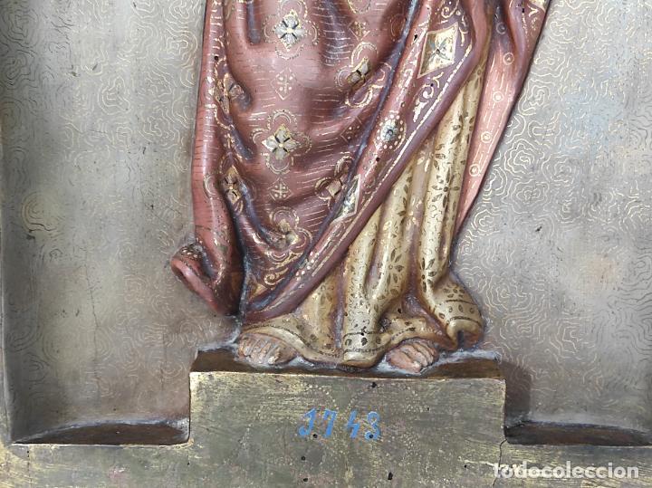 Arte: Antiguo Retablo - Sagrado Corazón - Talla de Madera Policromada y Dorada - Año 1743 - Foto 6 - 235694800