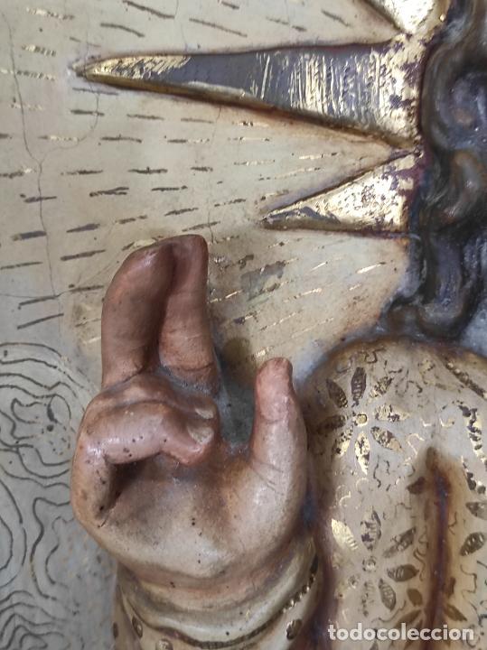 Arte: Antiguo Retablo - Sagrado Corazón - Talla de Madera Policromada y Dorada - Año 1743 - Foto 11 - 235694800