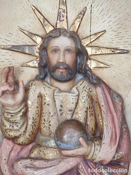 Arte: Antiguo Retablo - Sagrado Corazón - Talla de Madera Policromada y Dorada - Año 1743 - Foto 13 - 235694800