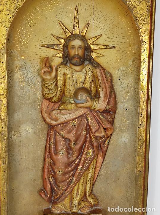 Arte: Antiguo Retablo - Sagrado Corazón - Talla de Madera Policromada y Dorada - Año 1743 - Foto 17 - 235694800
