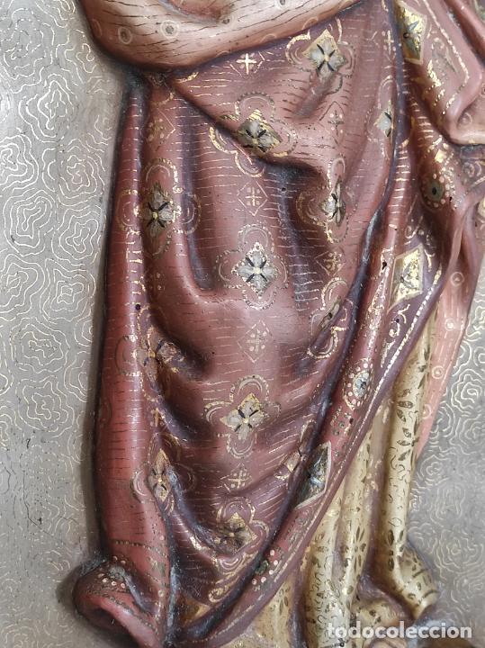 Arte: Antiguo Retablo - Sagrado Corazón - Talla de Madera Policromada y Dorada - Año 1743 - Foto 19 - 235694800