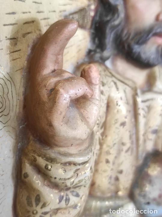 Arte: Antiguo Retablo - Sagrado Corazón - Talla de Madera Policromada y Dorada - Año 1743 - Foto 21 - 235694800