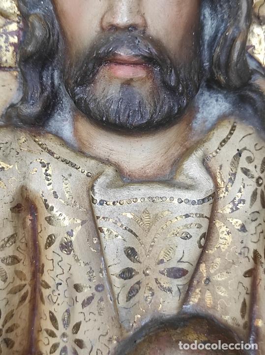 Arte: Antiguo Retablo - Sagrado Corazón - Talla de Madera Policromada y Dorada - Año 1743 - Foto 23 - 235694800