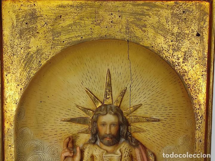 Arte: Antiguo Retablo - Sagrado Corazón - Talla de Madera Policromada y Dorada - Año 1743 - Foto 24 - 235694800