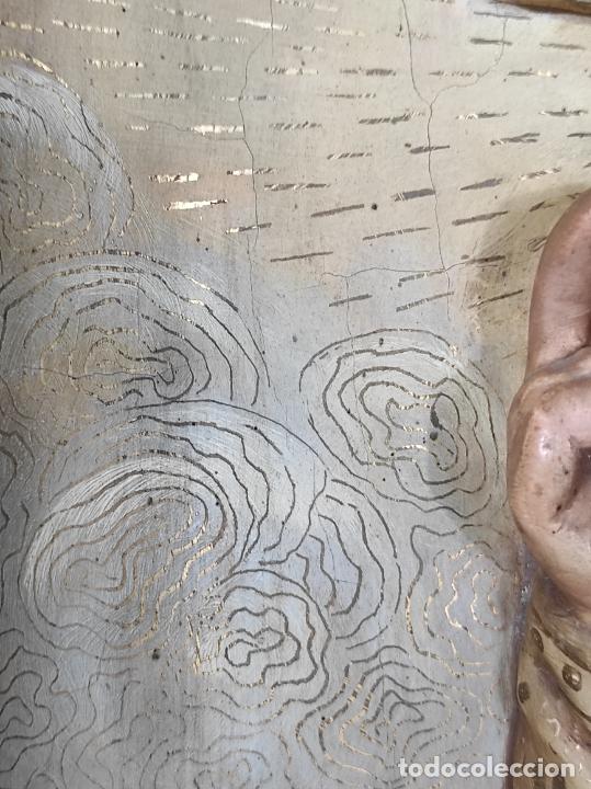 Arte: Antiguo Retablo - Sagrado Corazón - Talla de Madera Policromada y Dorada - Año 1743 - Foto 25 - 235694800