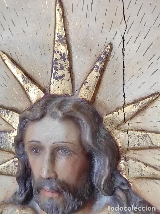 Arte: Antiguo Retablo - Sagrado Corazón - Talla de Madera Policromada y Dorada - Año 1743 - Foto 26 - 235694800