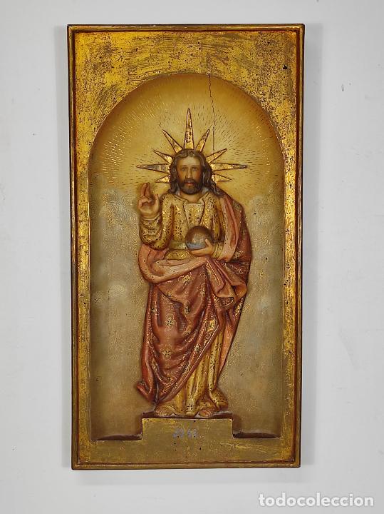 Arte: Antiguo Retablo - Sagrado Corazón - Talla de Madera Policromada y Dorada - Año 1743 - Foto 27 - 235694800