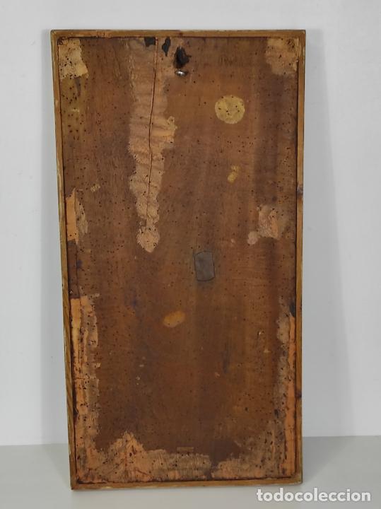 Arte: Antiguo Retablo - Sagrado Corazón - Talla de Madera Policromada y Dorada - Año 1743 - Foto 28 - 235694800