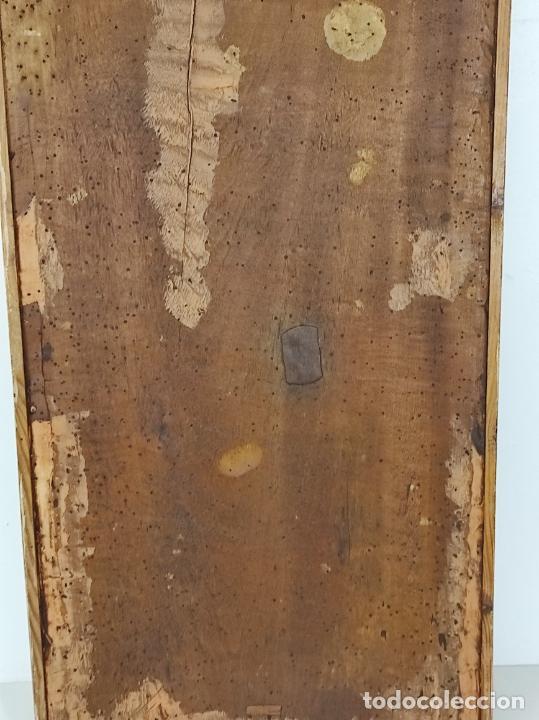 Arte: Antiguo Retablo - Sagrado Corazón - Talla de Madera Policromada y Dorada - Año 1743 - Foto 29 - 235694800