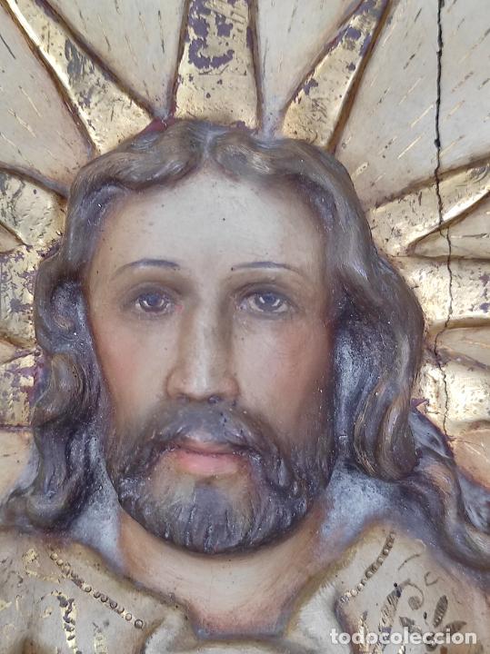 Arte: Antiguo Retablo - Sagrado Corazón - Talla de Madera Policromada y Dorada - Año 1743 - Foto 30 - 235694800