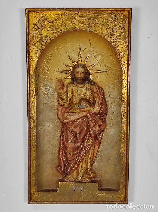 Arte: Antiguo Retablo - Sagrado Corazón - Talla de Madera Policromada y Dorada - Año 1743 - Foto 31 - 235694800