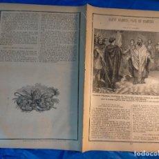 Arte: GRABADO RELIGIOSO 1890 - 1900 - VIDA DEL SANTO - SAINT MARTIN SAN MARTIN PAPA Y MARTIR. Lote 235825165