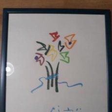 Arte: LITOGRAFÍA PABLO PICASSO LES FLEURS DU SOIR COLECCIÓN VERGÉ ENMARCADA 43 X 53. Lote 235886875