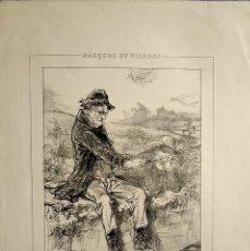 Arte: LITOGRAFÍA DE PAUL GABARNI. ORIGINAL S. XIX. SERIE MÁSCARAS Y ROSTROS. ESCENA DE PESCA. Lote 235895265