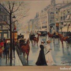 Arte: OLEO AVENIDA DE PARIS FIRMADO POR ARTISTA CON MARCO DE 77 X 65CM. Lote 235983515