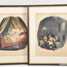 Arte: DAUMIER, HONORÉ, DOS CARICATURAS ORIGINALES , 1839 & 1840. Lote 236051710