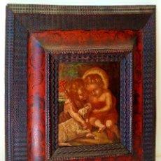 Art: NIÑO JESÚS Y SAN JUAN. ÓLEO SOBRE TABLA. MARCO ANTIGUO. ESPAÑA. SIGLOS XVII-XVIII. Lote 236084365