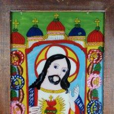 Arte: SAGRADO CORAZON---PINTURA BAJO CRISTAL VIDRIO ARTE POPULAR SIGLO XIX. Lote 236109835