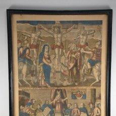 Arte: LITOGRAFIA DE LA SENTENCIA Y CRUCIFIXIÓN MUY ANTIGUA ,96CM,. Lote 236181455