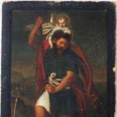 Arte: SAN CRISTÓBAL CON EL NIÑO JESÚS. ÓLEO SOBRE CARTÓN DURO. MIDE 20 X 14,5 CM. SIGLO XIX.. Lote 236269045