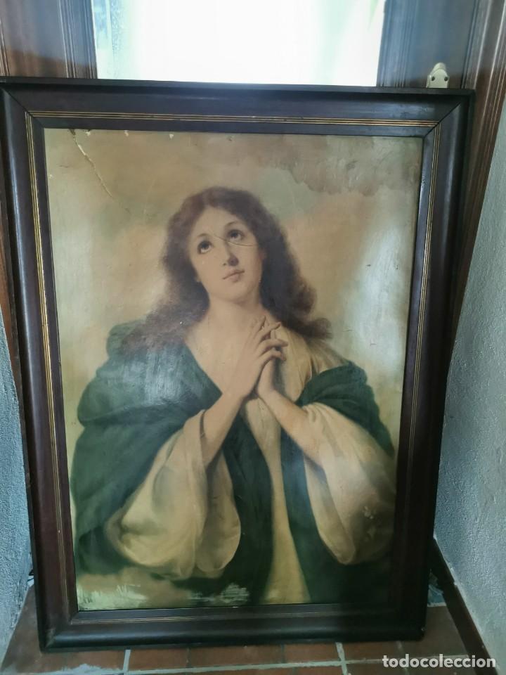 GRAN CUADRO DE LÁMINA, INMACULADA, AÑOS 30-40 (Arte - Arte Religioso - Pintura Religiosa - Otros)