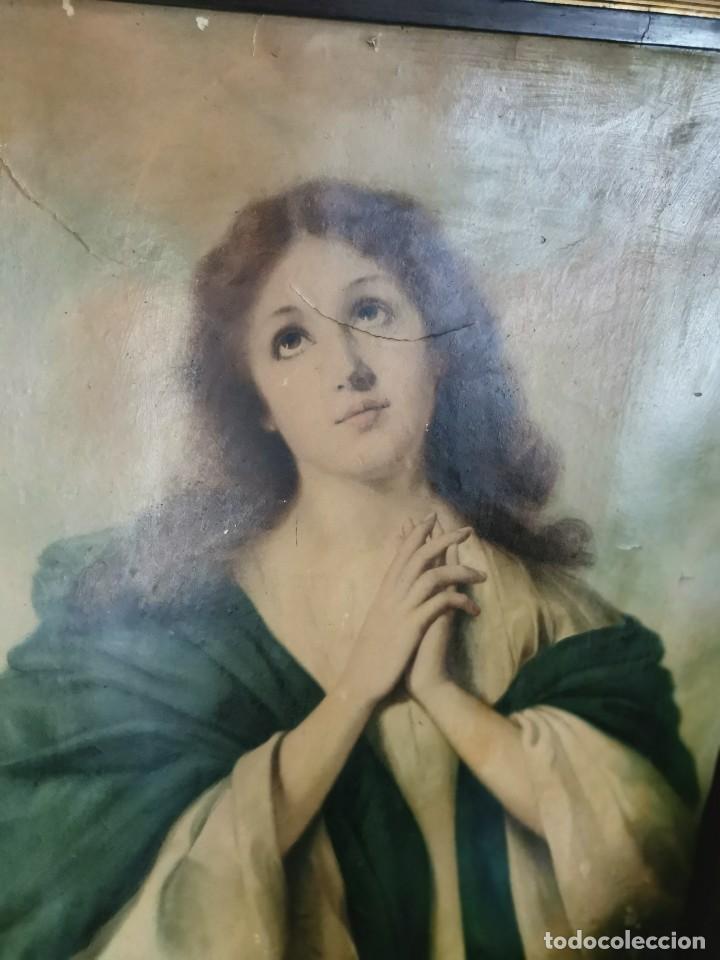 Arte: Gran cuadro de lámina, Inmaculada, años 30-40 - Foto 2 - 236330995